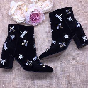 INC Black Velvet Embellished Booties 7M